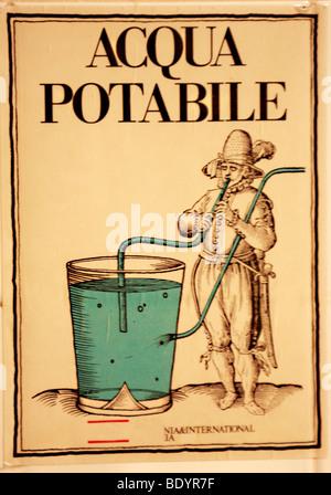 Aqua Potabile firmare al Venetian hotel ,l'Italia,indica che l'acqua del rubinetto è potabile Immagini Stock