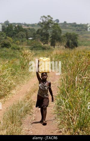 Bambino ugandese il recupero di acqua, Masindi, Uganda, Africa Immagini Stock
