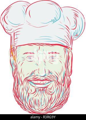 Disegno stile sketch illustrazione di un hipster baker, Cook, Chef, cibo Lavoratore che indossa una barba se visto dalla parte anteriore sulla isolato sullo sfondo bianco. Immagini Stock