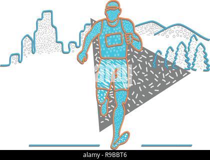 Anni ottanta Memphis style design illustrazione di un maratoneta in esecuzione con edifici e montagne dietro di lui su sfondo isolato. Immagini Stock