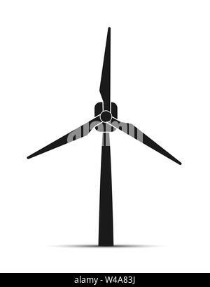Le fonti rinnovabili di energia, turbina eolica icona, semplice design piatto Immagini Stock