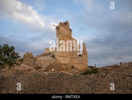Rovinato ottomano edifici di corallo rosso, lo stato del mare, Suakin, Sudan Immagini Stock