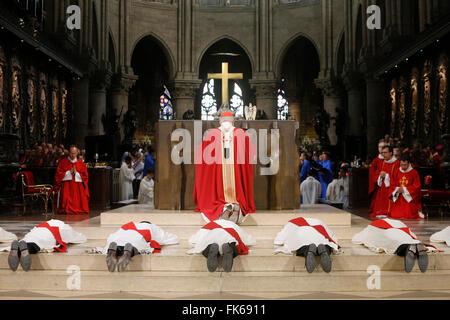 Sacerdote ordinazioni presso la cattedrale di Notre Dame di Parigi, Parigi, Francia, Europa Immagini Stock