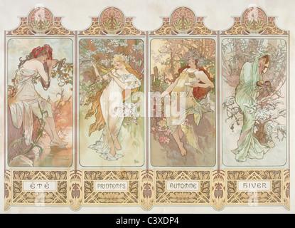 Le stagioni, da Alphonse Mucha. Parigi, Francia, xx secolo Immagini Stock