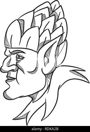 Disegno stile sketch illustrazione di un elfo, un uomo-sagomato essendo soprannaturale nella mitologia germanica folklore cercando lato indossando il luppolo hat sulla testa. Immagini Stock