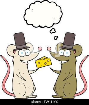 Disegnate a mano libera bolle di pensiero cartoon topi con formaggio Immagini Stock