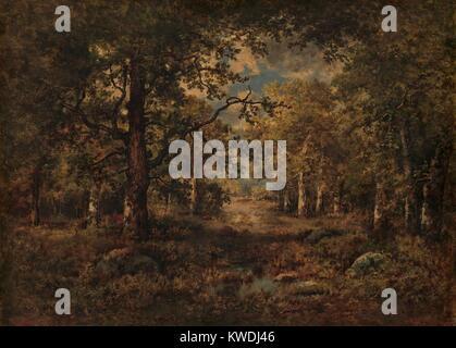 Una vista attraverso gli alberi: FOUNTAINBLEAU, da Narcisse Virgilio Diaz, 1873, la pittura francese, olio su legno. Immagini Stock