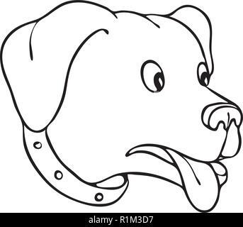 Disegno stile sketch illustrazione di un Labrador Retriever, Black Lab o retriever-cane, con occhi popping sorpresi e la lingua di fuori in nero e bianco Immagini Stock