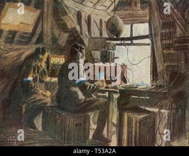 La prima guerra mondiale un esercito britannico stazione radio nel 1918 Immagini Stock
