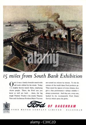 Pubblicità per la Ford Motor, dal Festival della Gran Bretagna guida, pubblicato da HMSO. Londra, UK, 1951 Immagini Stock