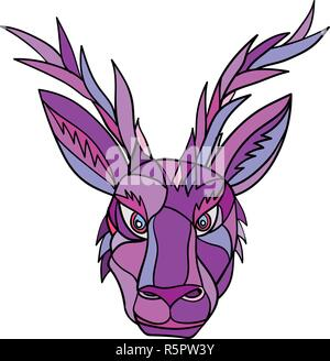 Mosaico di basso Stile del poligono illustrazione della testa di un jackalope, un mitico animale del Nord il folklore americano, descritto come un jackrabbit con antilopi ho Immagini Stock
