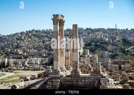 Tempio di Ercole e cityscape, Amman, Giordania Immagini Stock