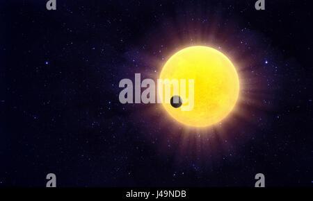 Exoplanet passando un starin distante un sistema solare - 3d illustrazione Immagini Stock