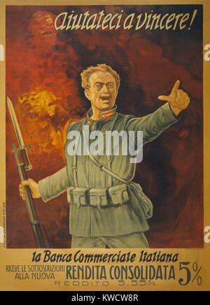 Italiano Guerra Mondiale 1 bond poster. In piedi di fronte a un muro di fuoco e soldato italiano con un fucile bayoneted Immagini Stock