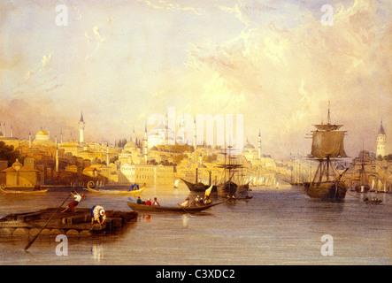 Costantinopoli: dall'entrata del Golden Horn, da Charles F. Buckley. Costantinopoli, Turchia, del XIX secolo Immagini Stock