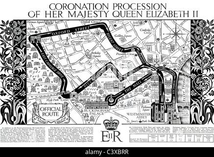 Mappa di incoronazione processione di Sua Maestà la Regina Elisabetta II, dal programma di souvenir pubblicato Immagini Stock