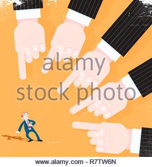Un sacco di mani puntando al preoccupato per il proprietario Immagini Stock