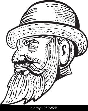 Lo stile di attacco illustrazione di un hipster gentiluomo con folta barba e baffi indossando un cappello bowler viwedr dal lato fatto su scraperboard scratchboar Immagini Stock