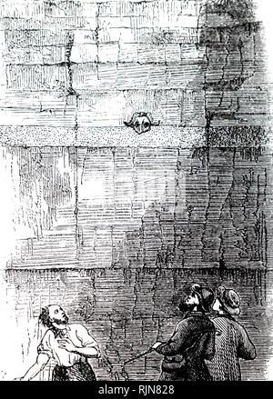 Una incisione raffigurante i cacciatori di fossili in Crayford box vicino a Erith, Kent, nella valle del Tamigi, momentaneamente allarmato per il cranio di un muschio di pecora (Ovis moschatus) Il peering fuori di strati. Datata del XIX secolo Immagini Stock