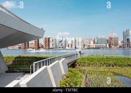 Prati e East River dalla rampa che conduce a trascurare. Idro piano lo sbarco in background. Cacciatori South Park, New York, Regno Stat Immagini Stock
