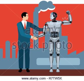 Imprenditore stringono le mani con robot muscoli di flessione Immagini Stock