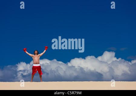 Un boxer celebra essendo in cima al mondo. Immagini Stock
