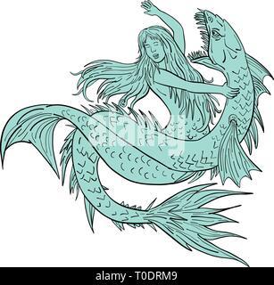 Disegno stile di disegno illustrativo di una sirena o sirena alle prese un serpente marino o mostro isolato su sfondo bianco. Immagini Stock