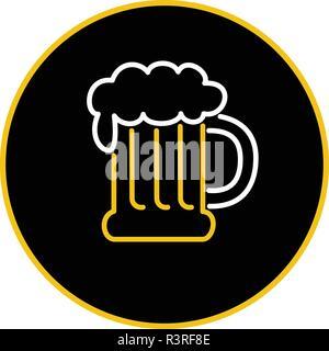 Icona di stile retrò illustrazione di vintage boccale di birra con la schiuma di una luce al neon su sfondo isolato. Immagini Stock