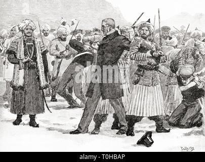Cattura di Sir William Hay Macnaghten parte dal principe afgano, Akbar Khan, 1841 Immagini Stock