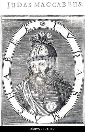Giuda Maccabeo incisione del XVIII secolo del sacerdote ebreo che ha guidato la rivolta dei Maccabei contro l'impero Seleucide Immagini Stock