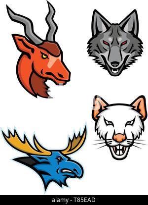 Icona di mascotte illustrazione insieme di capi di un addax, grigio coyote, bull alci e un ratto se visto dalla parte anteriore su sfondo isolato in stile retrò. Immagini Stock