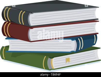 Pila di libri per amante della letteratura. Enciclopedie per la lettura. Pagine invertite. Oggetto in stile contemporaneo. Illustrazione Vettoriale per poster. Immagini Stock