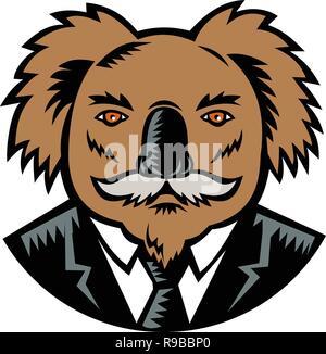 Retrò stile xilografia illustrazione di un koala, un erbivoro arboree marsupiale nativo di Australia, con baffi indossando un business suit cappotto e ti Immagini Stock