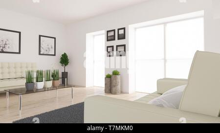 Eseguire il rendering di 3D vivere contemporaneo sala interna e arredamento moderno Immagini Stock