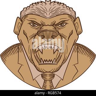 Schizzo di disegno stile testa illustrazione di un aggressivo e miele di Angry Badger indossando un cappotto e cravatta o business suit baring è zanne sulla isolato w Immagini Stock