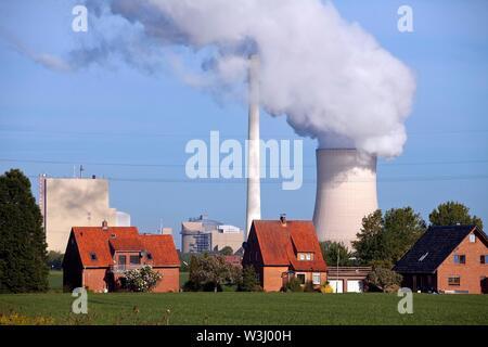 Heyden Power Plant, impianto alimentato a carbone, il riscaldamento globale, carbone phase-out, Petershagen, Nord Reno-Westfalia, Germania Immagini Stock