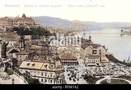 Vista dal Monte Gellért, 1906 Budapest, Blick vom Gellert, Ungheria Immagini Stock