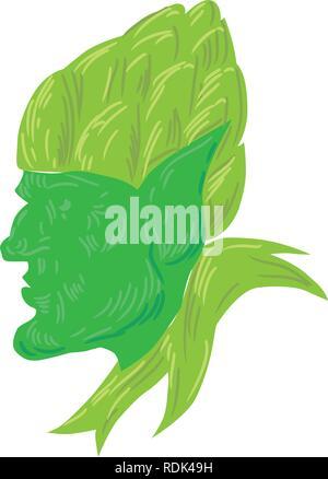 Disegno stile sketch illustrazione di un verde elfo, un uomo-sagomato essendo soprannaturale nella mitologia germanica e folklore guardando al lato indossando un luppolo Immagini Stock