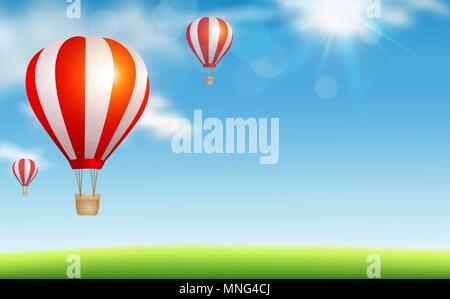 Sfondo rosso con aria palloncini volare nel cielo blu. Concetto di viaggio. Illustrazione Vettoriale. Immagini Stock