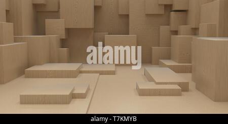 Eseguire il rendering 3D astratta geometrica cuboide sfondo Immagini Stock