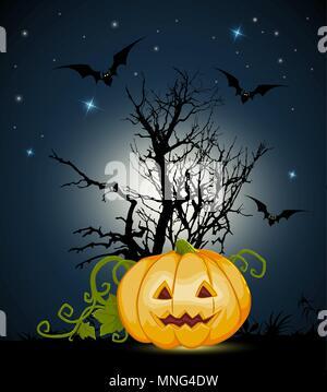 Arancione Zucca di Halloween e silhouette di albero su uno sfondo nero. Halloween biglietto di auguri. Immagini Stock