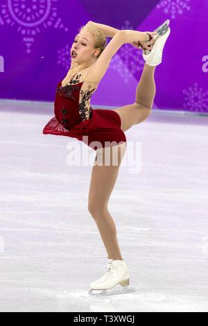 Bradie Tennell (USA) competere nel pattinaggio di figura - Ladies' breve presso i Giochi Olimpici Invernali PyeongChang 2018 Immagini Stock