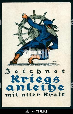 """Germania, Berlino, WW I, propaganda, patriottica cartolina con il testo: """"Zeichnet Kriegsanleihe mit aller Kraft"""" (segno prestiti di guerra con tutti i power), artista forse Arthur Koch (1862-1936). , Additional-Rights-Clearance-Info-Not-Available Immagini Stock"""
