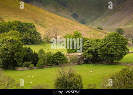 Regno Unito, Cumbria, York, Caultey,Cautley Thwaite Farm tra alberi al di sotto del tubo di lancio Cautley cascata che scorre fuori Howgill Fells Immagini Stock