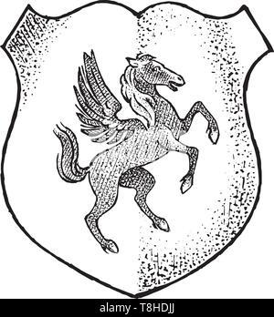 Per animale araldico in stile vintage. Inciso lo stemma con Pegasus e mitica creatura. Emblemi medievale e il logo del regno fantasy. Immagini Stock