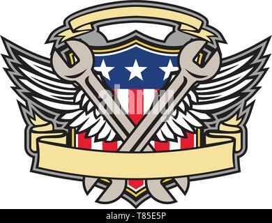 Icona di mascotte illustrazione di una chiave incrociata con air force army ali e American USA a stelle e strisce bandiera all'interno della protezione su isolati in background Immagini Stock