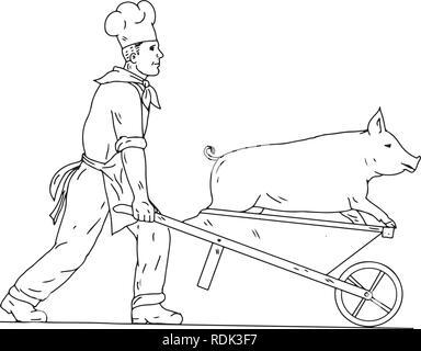 Schizzo di disegno illustrazione dello stile di uno chef, Cook, baker o butcher con carriola portando un maiale visto dal lato isolato su sfondo bianco in b Immagini Stock