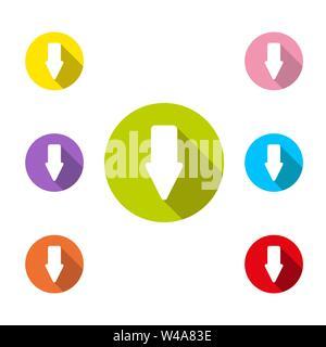 Icona a forma di freccia in basso con lunga ombra, semplice design piatto Immagini Stock