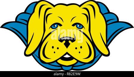 Stile mascotte illustrazione di un super laboratorio giallo labrador retriever cane che indossa un capo blu se visto dalla parte anteriore su sfondo isolato in stile retrò. Immagini Stock