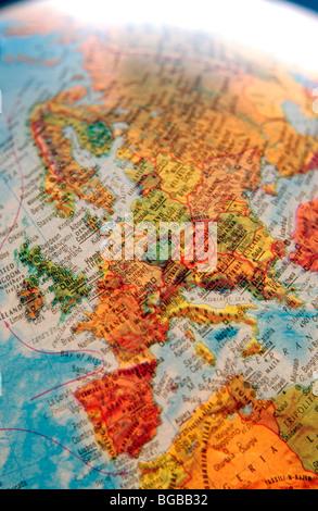 Fotografia di mappa Europa globe EU UK British paesi viaggiano Immagini Stock